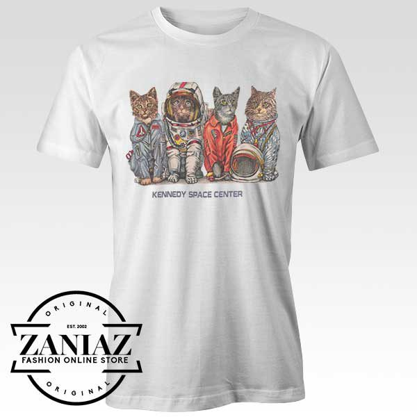 Tshirt Cute Kennedy Space Cats Custom Tees Womens and Mens Size S-3XL