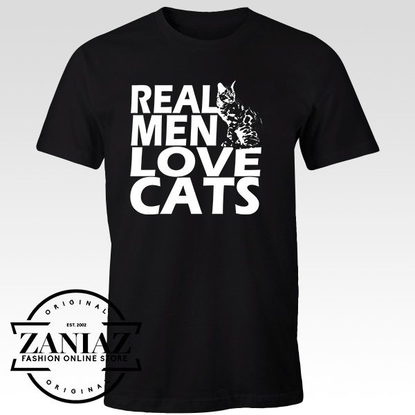 Buy Tshirt Real Men Love Cats White Size S-3XL