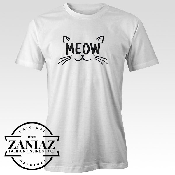 Cheap Tee Funny Cat Lover Gift Shirt, MEOW T-shirt