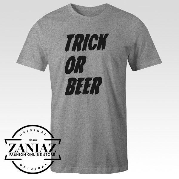 Mens Trick or Beer Shirt Funny Adult Halloween Tee