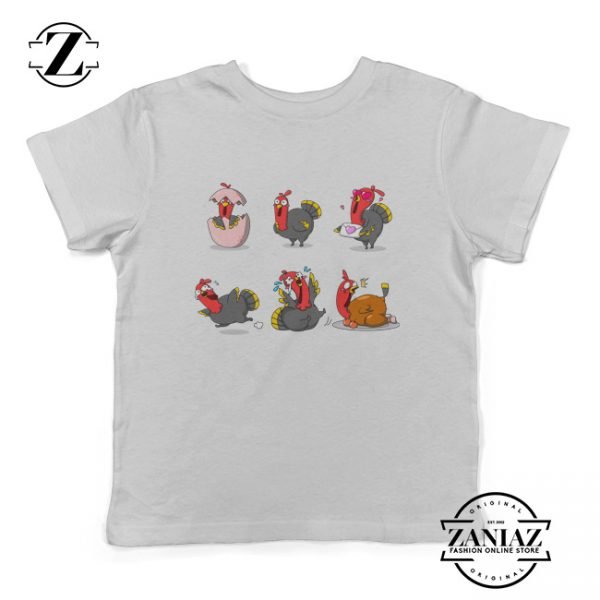 Turkey Cartoon Youth Tees Thanksgiving Kids Shirt