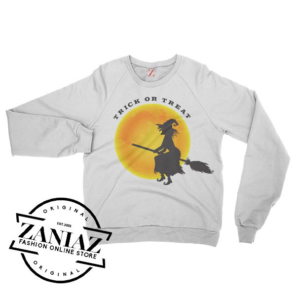 Buy Halloween Witch and Moon Sweatshirt Crewneck Size S-3XL