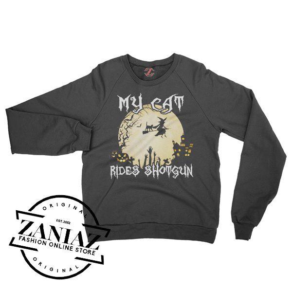 Buy Sweatshirt Halloween My Cat Rides Shotgun Crewneck Size S-3XL
