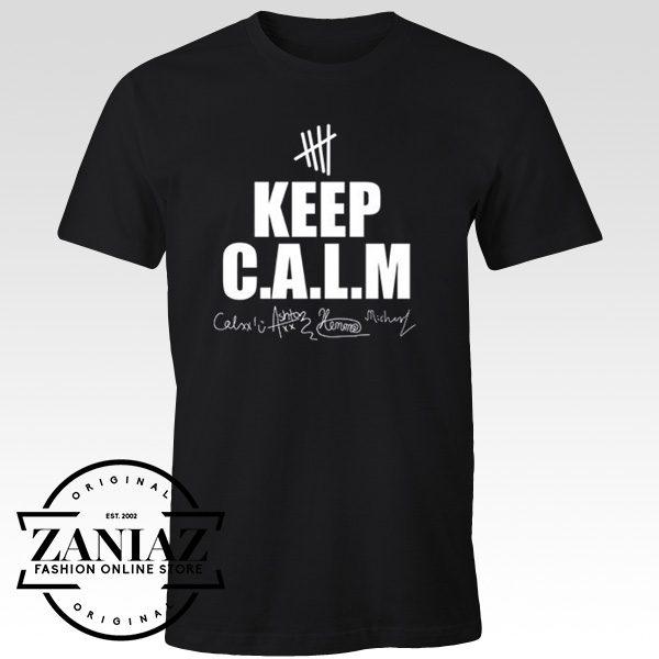 5SOS Tee Shirts Cheap Signature Keep Calm