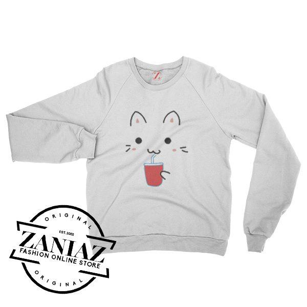 Cheap Cute Kawaii Cat Christmas Gift Sweatshirt Crewneck Size S-3XL