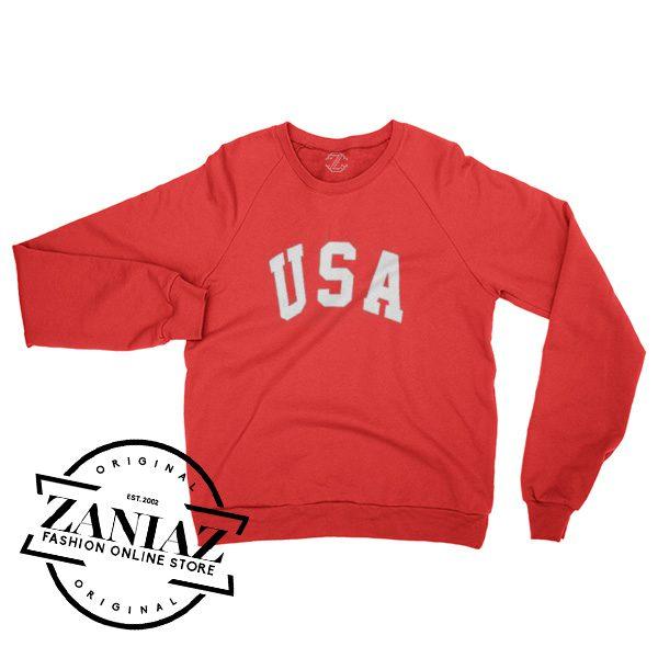 Cheap USA Red Christmas Gift Sweatshirt Crewneck Size S-3XL