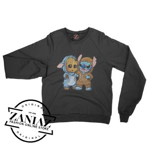 Stitch And Baby Groot Gift Sweatshirt Unisex Crewneck Size S-3XL