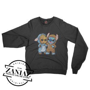 Stitch And Baby Groot Gift Sweatshirt Unisex Crewneck Size S-3XL