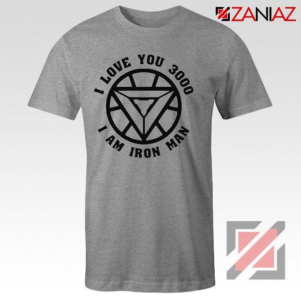 Avengers Endgame T Shirt I love You 3000 Times Tony Stark T-Shirt Grey