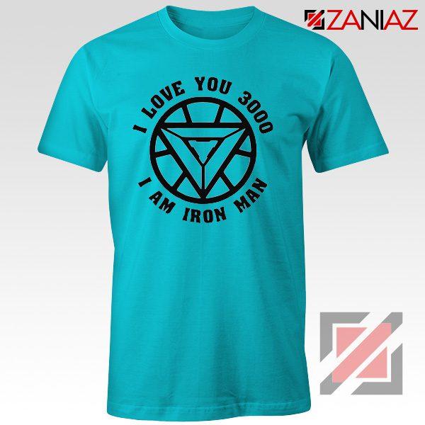 Avengers Endgame T Shirt I love You 3000 Times Tony Stark T-Shirt Light Blue