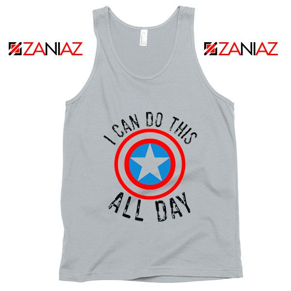 Captain America Tank Top I Can Do This All Day Tank Top Quote New SIlver