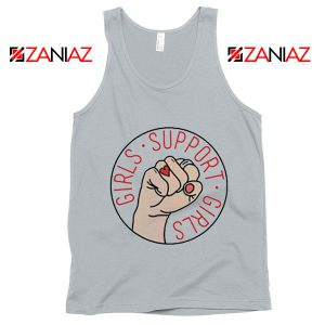 Girls Support Girls Tank Top Cheap Feminist Tank Top Girl Power New Silver