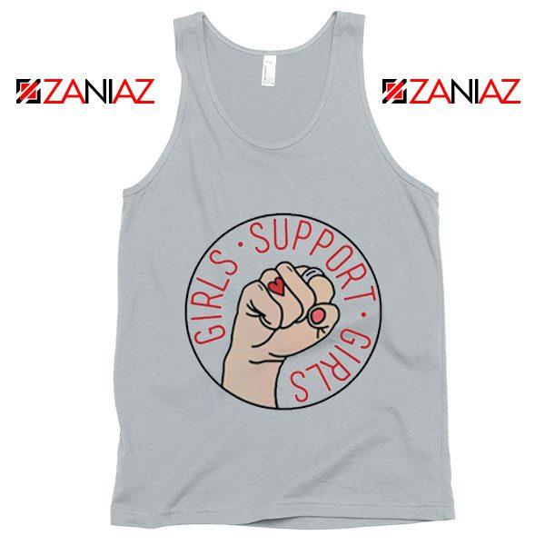 Girls Support Girls Tank Top Cheap Feminist Tank Top Girl Power New Silver