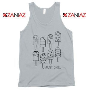 Just Chill Popsicle Tank Top Summer Vacation Tank Top Ice Cream New Silver