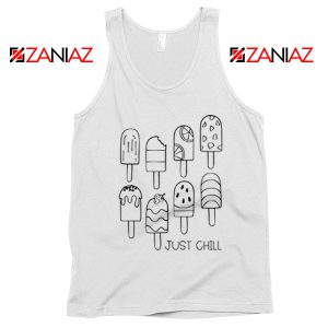 Just Chill Popsicle Tank Top Summer Vacation Tank Top Ice Cream White