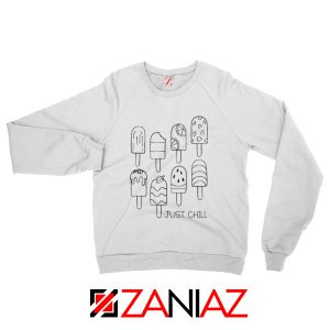 Popsicle Just Chill Sweatshirt Birthday Gift Sweater for Women and Man White