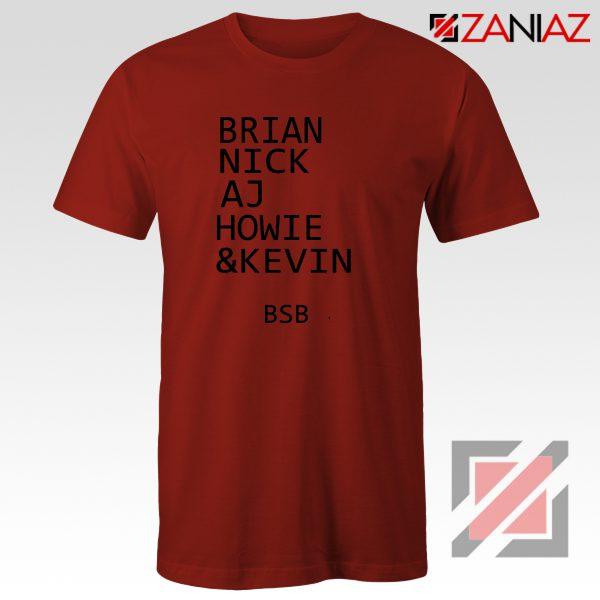 Backstreet Boys Band Names Shirt Members BSB Tshirt Size S-3XL Red