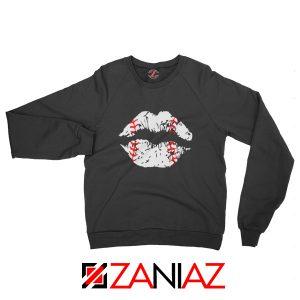 Baseball Lips Funny Sweatshirt Baseball League Sweatshirt Black