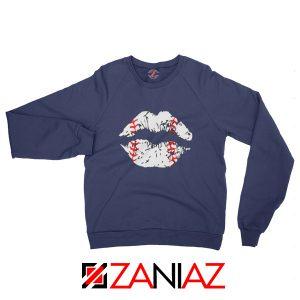 Baseball Lips Funny Sweatshirt Baseball League Sweatshirt Navy