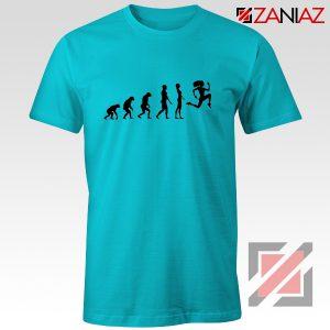 Be 100 Evolution T-shirt Womens Funny Workout Shirt Size S-3XL Light Blue