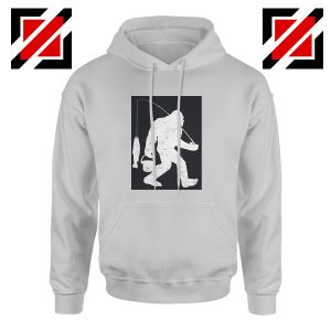 Bigfoot Fishing Hoodie Funny Gifts Fisher Dad Hoodie Sport Grey