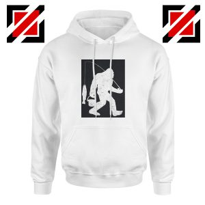 Bigfoot Fishing Hoodie Funny Gifts Fisher Dad Hoodie White