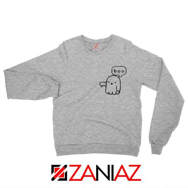 Boo Halloween Sweatshirt Ghost Movie Best Sweatshirt Size S-2XL Grey