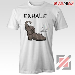Elephant Exhale T-shirt Funny Animal Shirt Funny Elephant Exhale T-shirt White