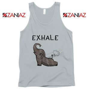 Elephant Exhale Tank Top Funny Animal Summer Tank Top New Silver