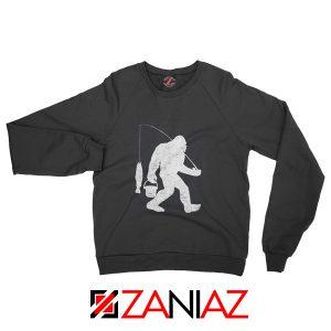 Fisher Dad Sweatshirt Bigfoot Fishing Sweatshirt Funny Gifts Black