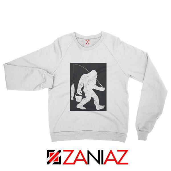 Fisher Dad Sweatshirt Bigfoot Fishing Sweatshirt Funny Gifts White