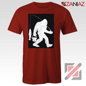Fisher Dad Tshirt Bigfoot Fishing Shirt Funny Gifts Unisex Red