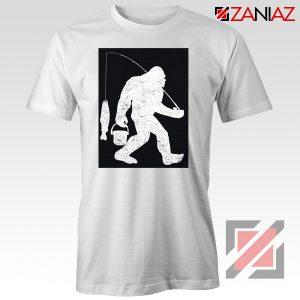 Fisher Dad Tshirt Bigfoot Fishing Shirt Funny Gifts Unisex White