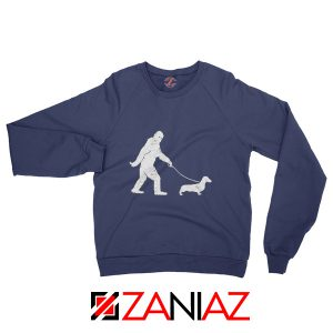 Funny Dachshund Bigfoot Sweatshirt Dachshund Sweatshirt Cute Gift Navy