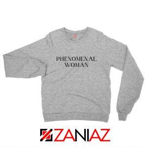 Girl Power Sweatshirt Maya Angelou Phenomenal Woman Book Grey