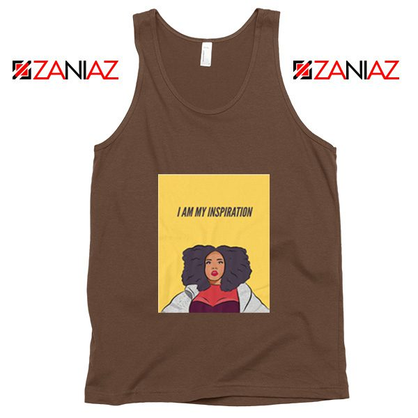 I Am My Inspiration Best Tank Top Lizzo American Songwriter Brown