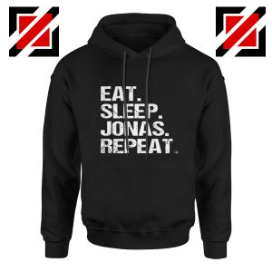 Jobros Happiness Begins Concert Hoodie Eat Sleep Jonas Repeat Hoodie Black