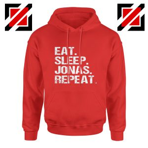 Jobros Happiness Begins Concert Hoodie Eat Sleep Jonas Repeat Hoodie Red
