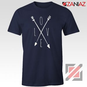 Love Cross Arrows T Shirt Gift Valentines Day Shirts With Love Navy Blue