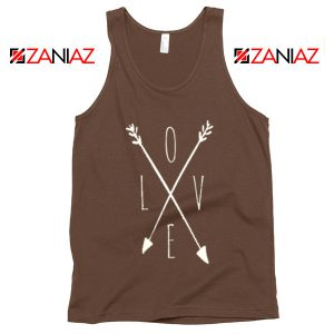 Love Cross Arrows Tank Top Gift Valentines Day Tank Top With Love Brown