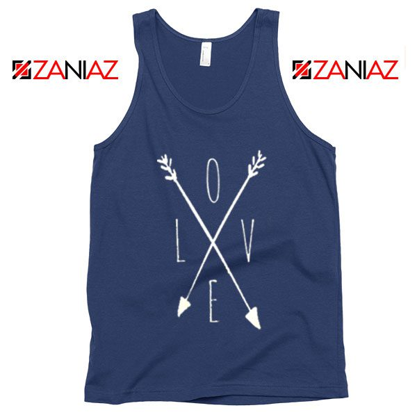 Love Cross Arrows Tank Top Gift Valentines Day Tank Top With Love Navy Blue