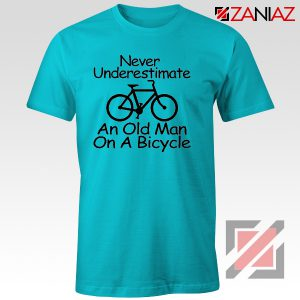 Never Underestimate An Old Man On A Bicycle T-Shirt Men's Birthday Gifts Light Blue