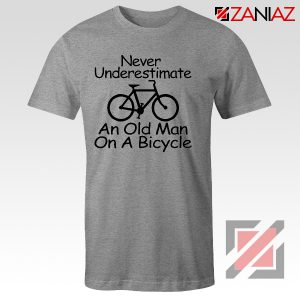 Never Underestimate An Old Man On A Bicycle T-Shirt Men's Birthday Gifts Sport Grey