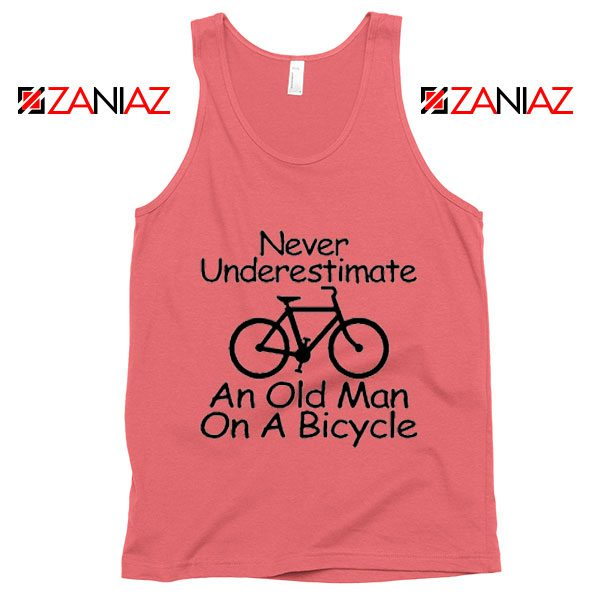 Never Underestimate An Old Man On A Bicycle Tank Top Men's Coral