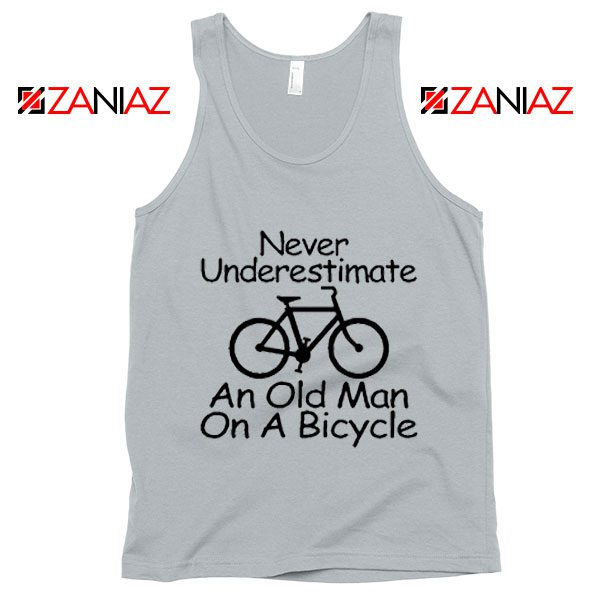 Never Underestimate An Old Man On A Bicycle Tank Top Men's New Silver