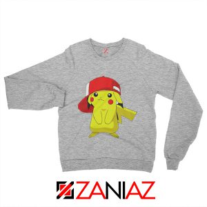 Ash's Pokemon Sweatshirt Pikachu Movies Best Sweatshirt Size S-2XL Sport Grey