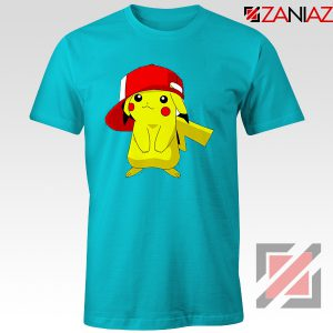 Ash's Pokemon T-shirt Pikachu Movies Best T-shirt Size S-3XL Light Blue