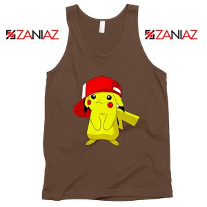 Ash's Pokemon Tank Top Pikachu Movies Best Tank Top Size S-3XL Brown