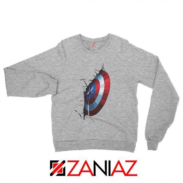 Captain America Shield Sweatshirt Marvel Studio Sweatshirt Size S-2XL Sport Grey
