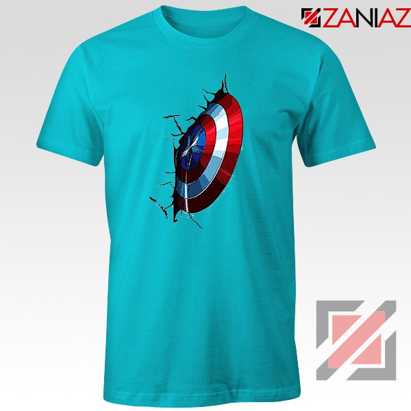 Captain America Shield T-Shirt Marvel Studio Best T-Shirt Size S-3XL Light Blue